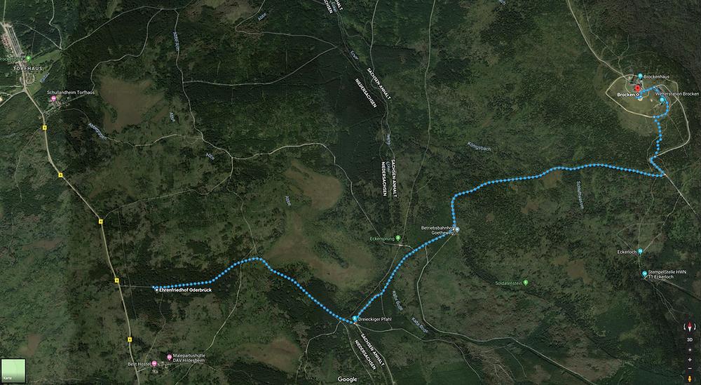 Meine geplante Route durch den Harz