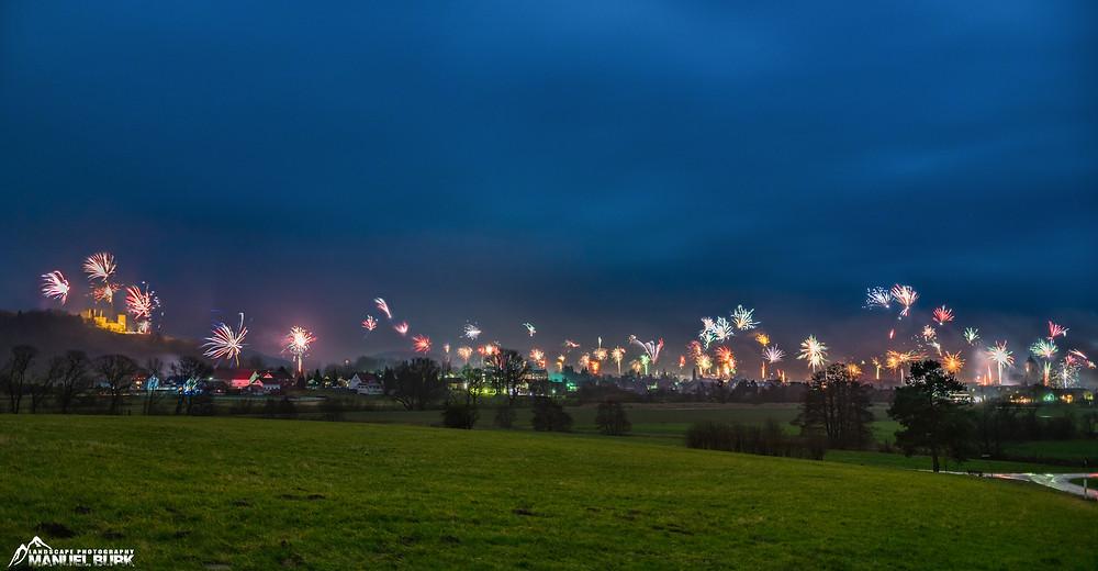 Silvester Feuerwerk über Volkmarsen