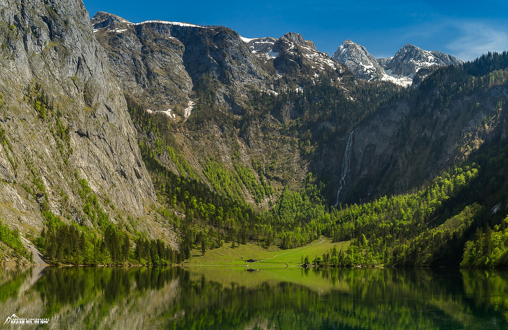 Der Obersee mit der Salet Alm und den Röthbachfall