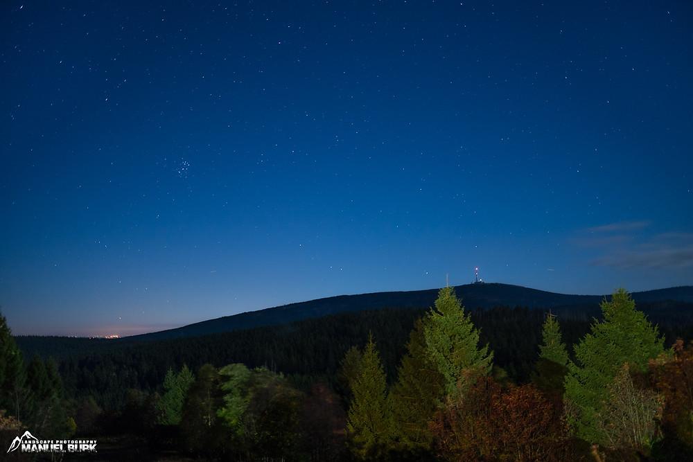 Sternenhimmel über dem Harz und Brocken