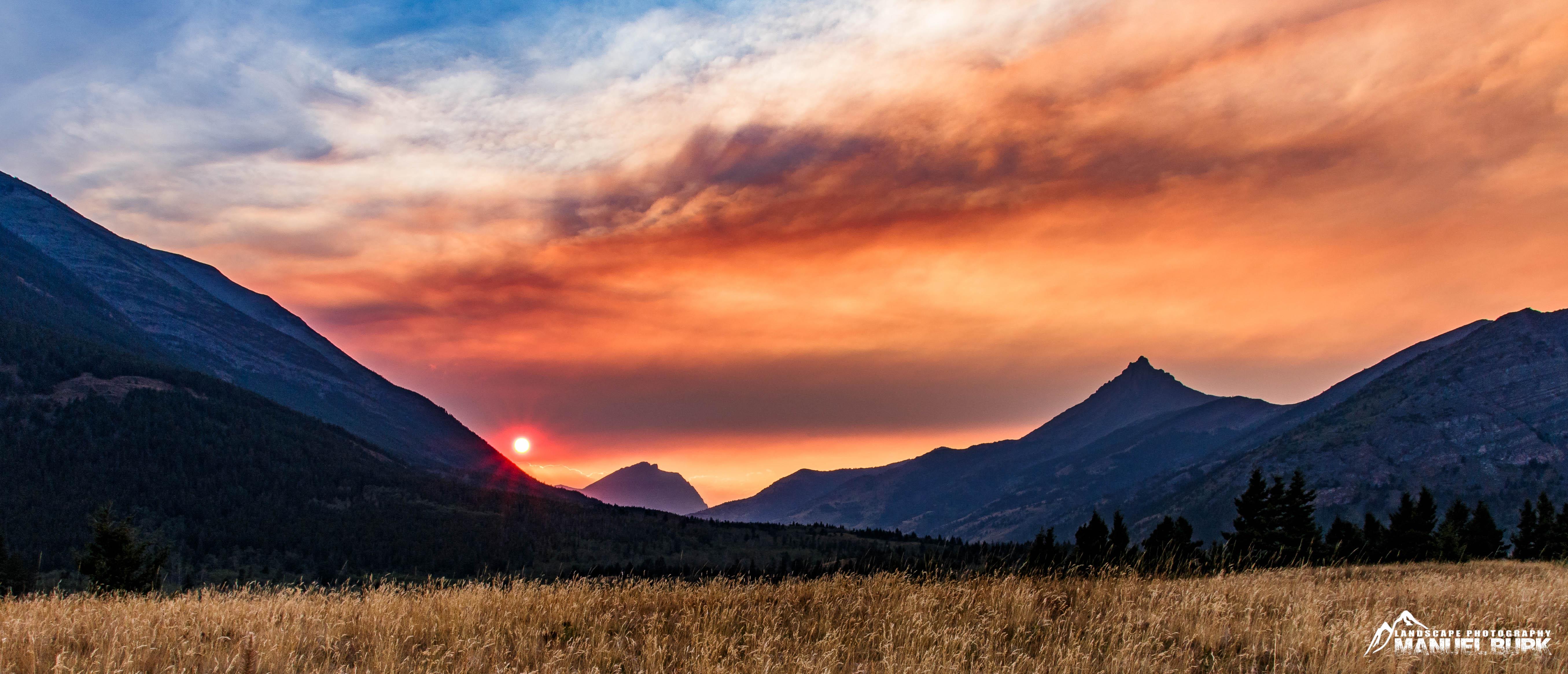 Sonnenuntergang am Rande der Rockys