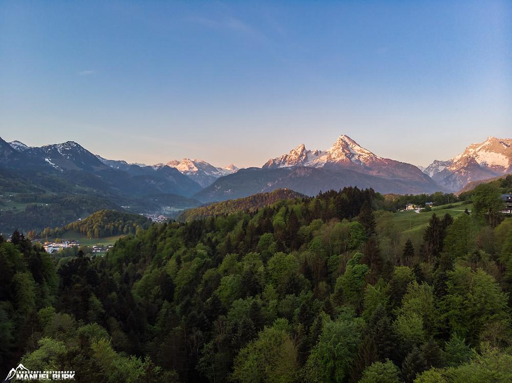 Alpenglühen am Watzmann aus luftiger Höhe