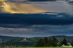 Kugelsburg bei Sonnentuntergang