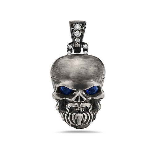 Skull Pendant Large White Diamonds  w/ Bell - Eyes Rubys