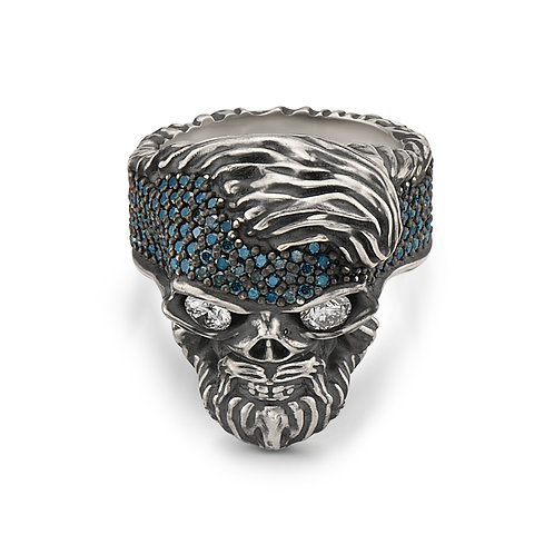 Skull Ring Blue Diamonds with Eyes Sapphire