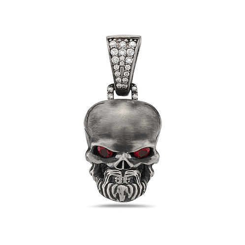 Skull Pendant Large  w/ Bell - Eyes  Orange Diamonds