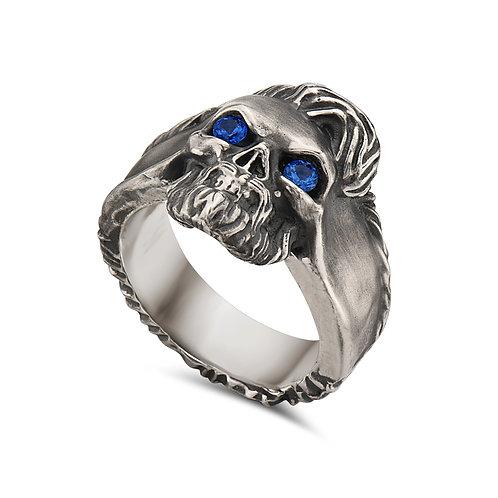 Skull Ring w/ Sapphire