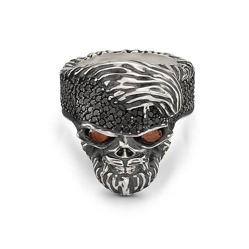 Skull Ring Black Diamonds with Eyes Sapphire