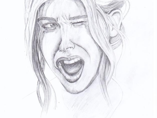 Pencil - Girl Shouting Sketch