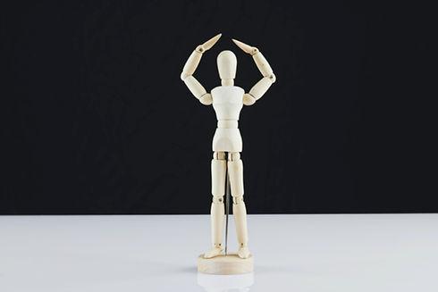 Wooden anatomy figure in ballerina pose