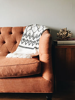 A comfy burnt orange couch for a happy atmosphere counseling session
