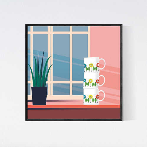 Artprint 'vintage kitchen - cups'