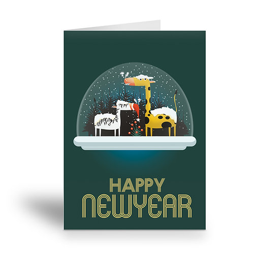 greeting card 'happy new year'tropical animals