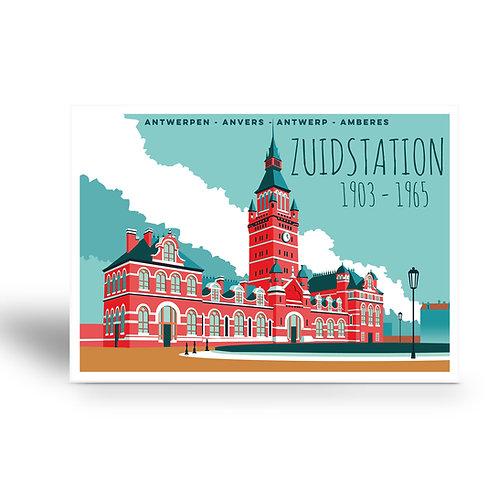 postcard 'Antwerp vintage - zuidstation'