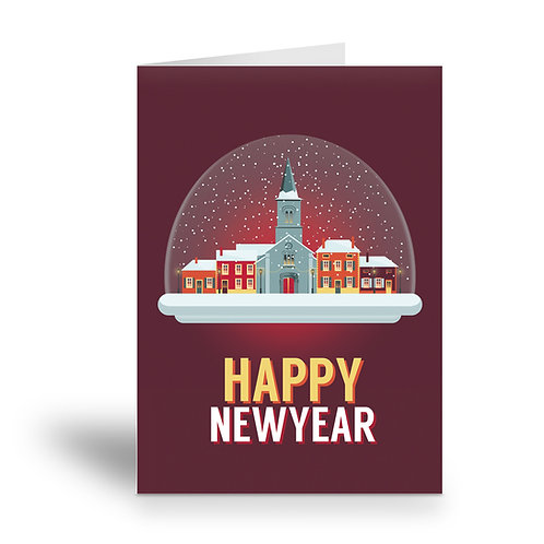 greeting card 'happy new year' French village (version 2)
