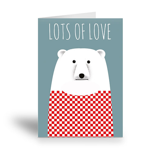 greeting card 'lots of love' polar bear