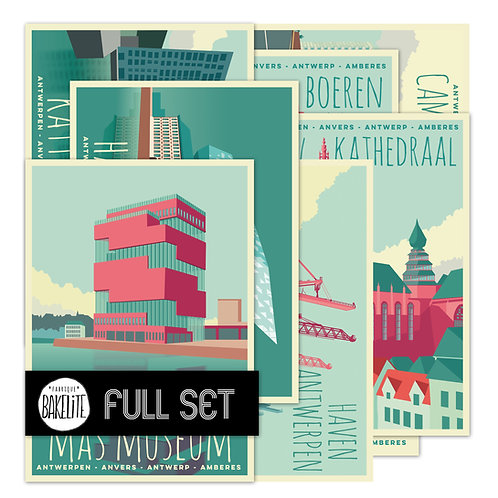 18 postcards 'Antwerp vintage - deluxe'