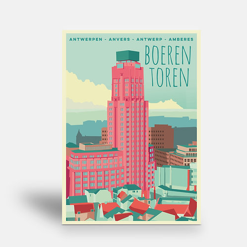 postcard 'Antwerp vintage - Boerentoren'