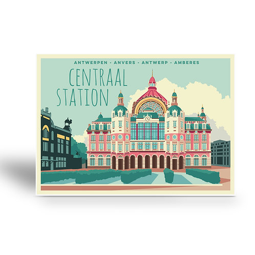 postcard 'Antwerp vintage - centraal station 1'