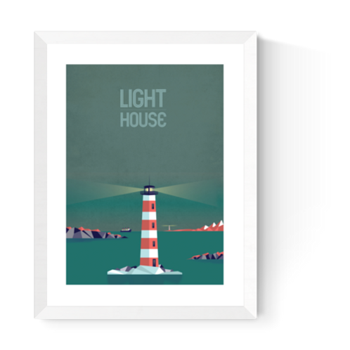 Artprint 'Lighthouse - night'