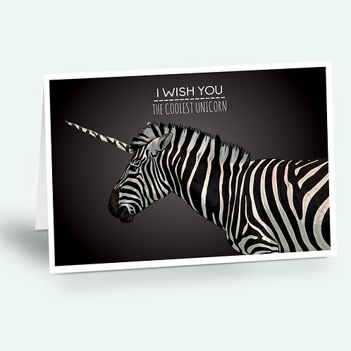 greeting card 'unicorn zebra'
