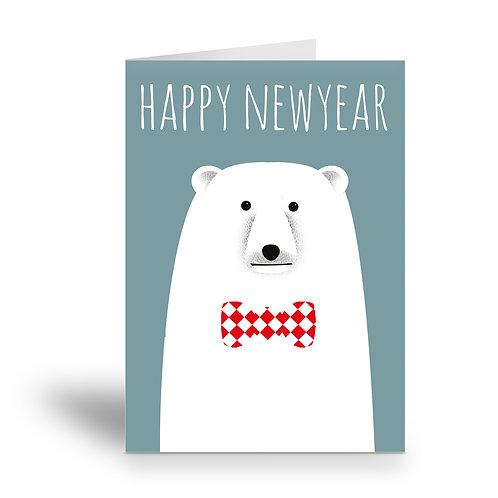 greeting card 'happy new year' polar bear