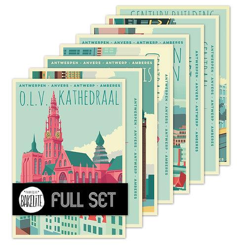 8 postcards 'Antwerp vintage - city centre'