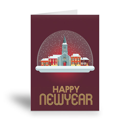 greeting card 'happy new year' French village