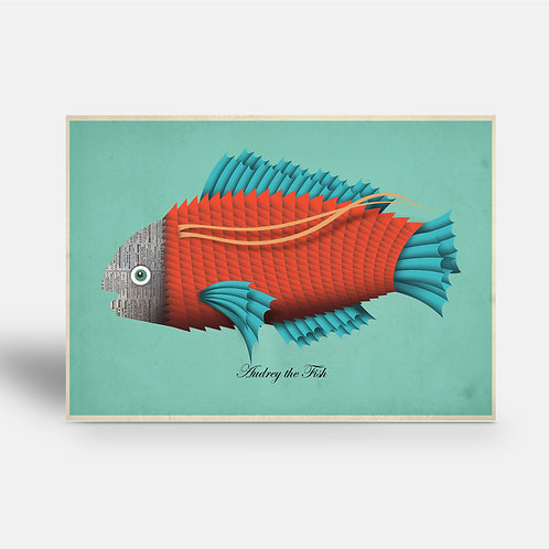postcard 'Audrey the Fish'