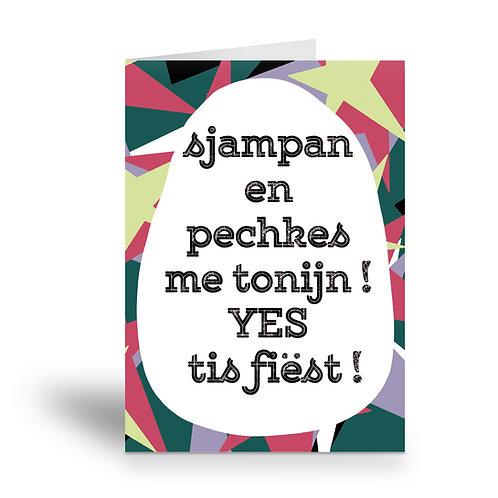 greeting card 'sjampan en pechkes me tonijn'