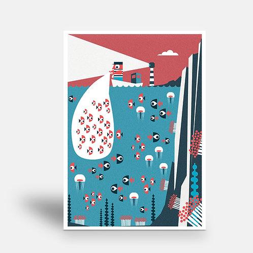 postcard 'fisherman'