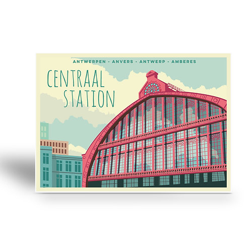 postcard 'Antwerp vintage - centraal station 2'