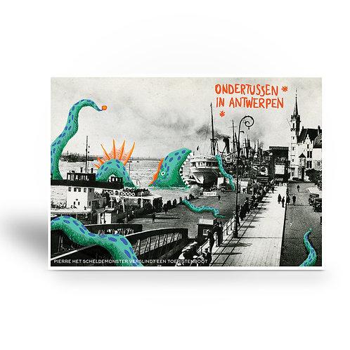 postcard 'Ondertussen in Antwerpen - Pierre het Scheldemonster'