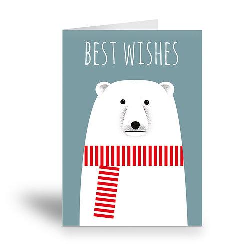 greeting card 'best wishes' polar bear
