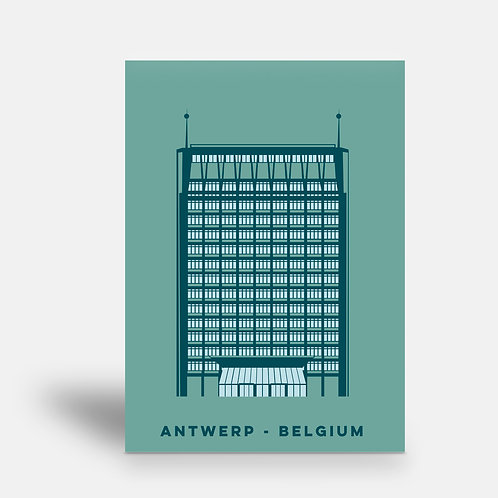 postcard 'Antwerp shapes - Politietoren'
