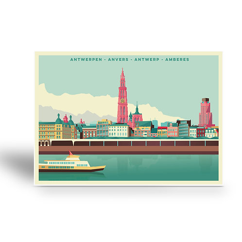 postcard 'Antwerp vintage - skyline'