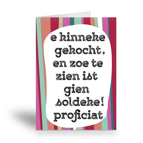 greeting card 'e kinneke gekocht'