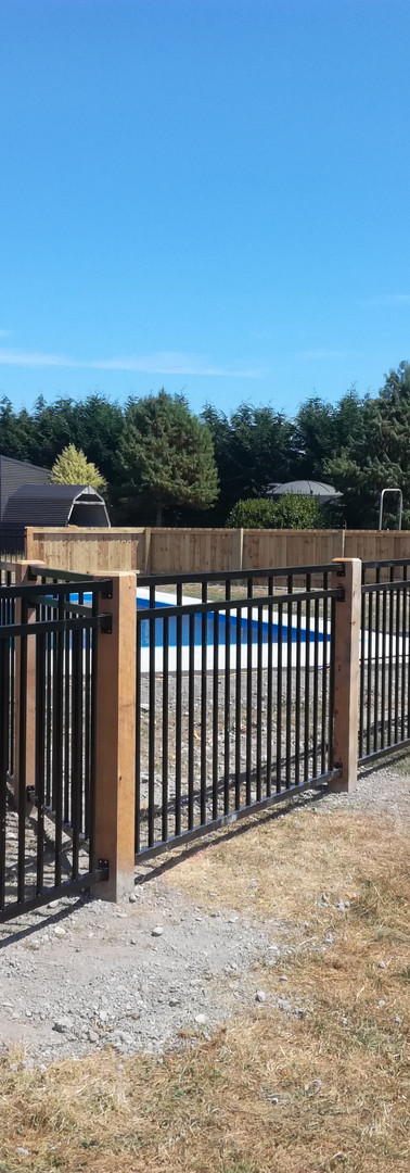 Aluminium Pool Fencing with Macrocarpa Posts
