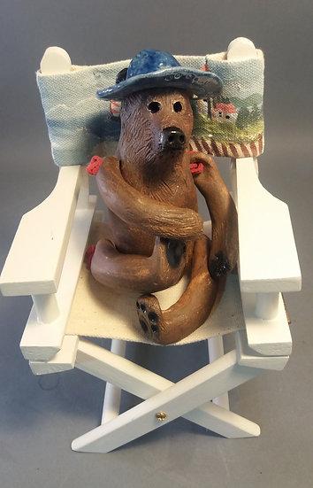 Beach Bum Bear W Blue Hat and Chair.