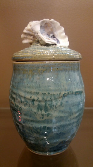 Oyster Shell Lidded Container
