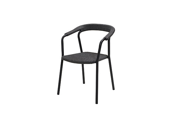 Noble armchair, stackable, Dark grey, Cane-line Soft Rope (57438)