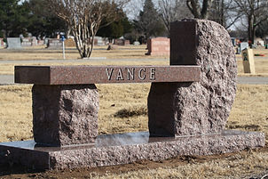 Granite Monument Bench, Gracelawn Cemetery - Edmond, Oklahoma