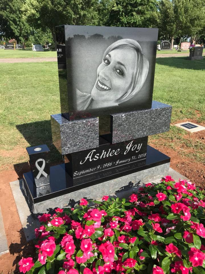 Custom Black Granite Headstone