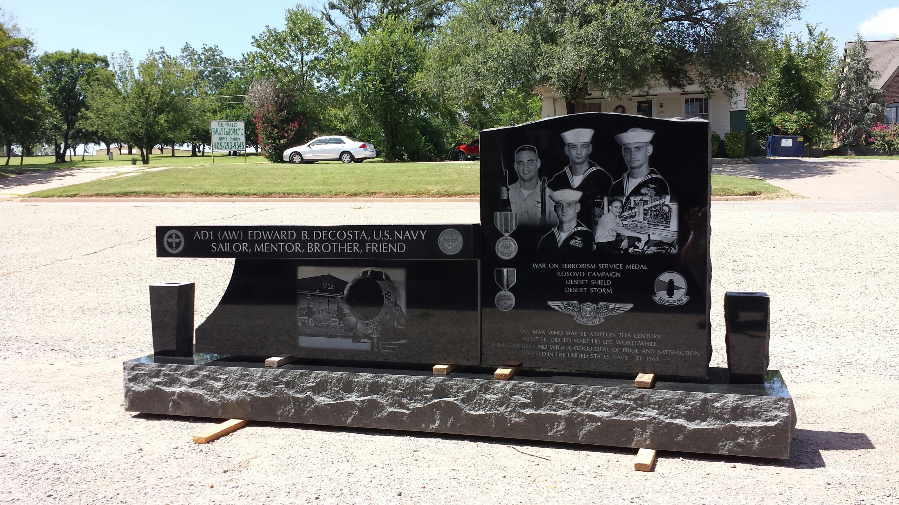 Custom Cemetery Bench Monument