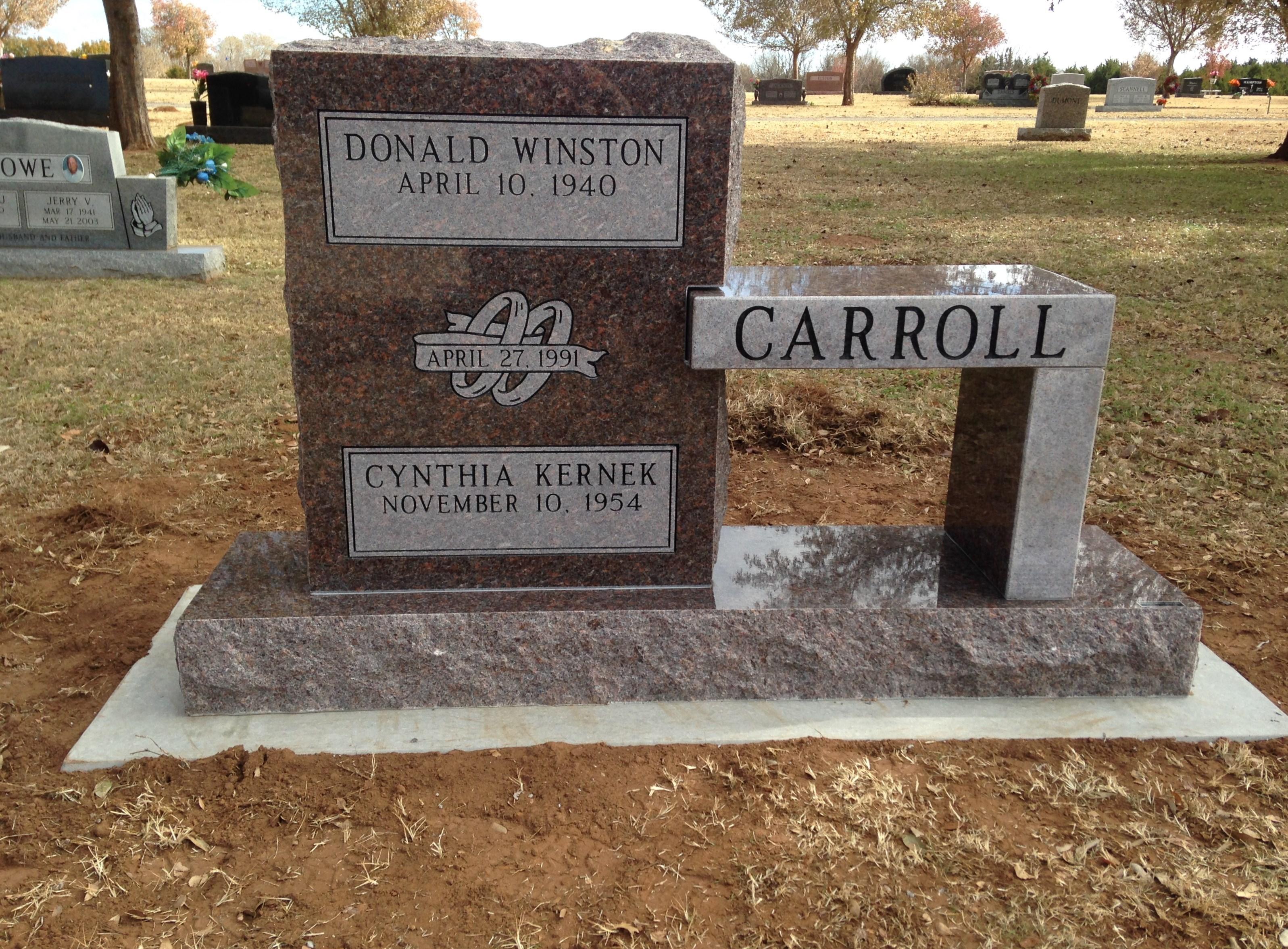 Mahogany Granite Cemetery Bench