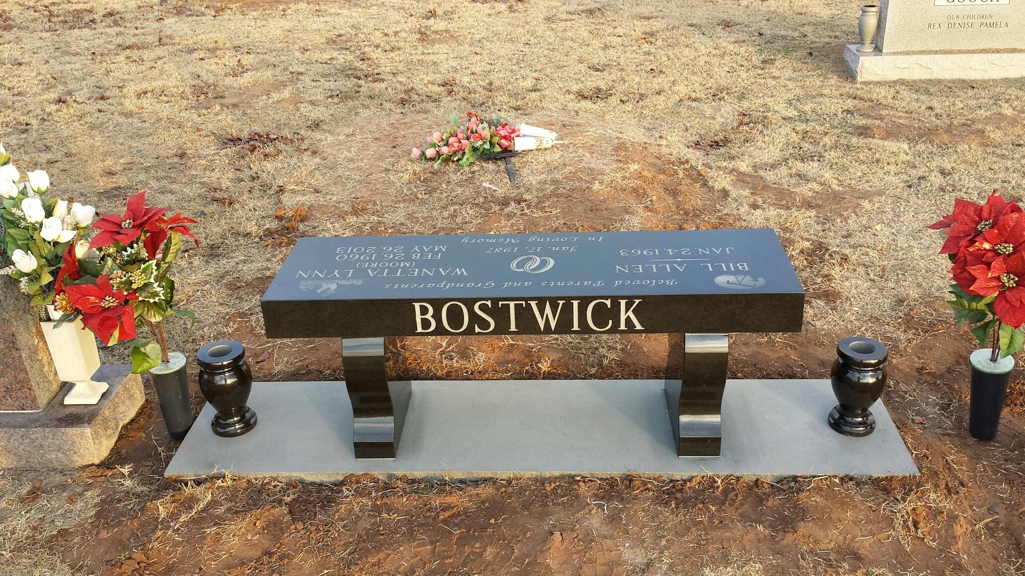 Black Granite Cemetery Bench
