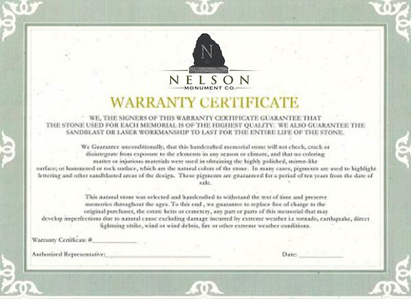 Cemetery Monument Warranty, Granite Warranty