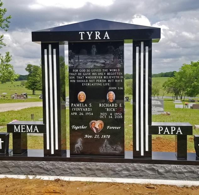 Premium Black Granite Headstone Monument