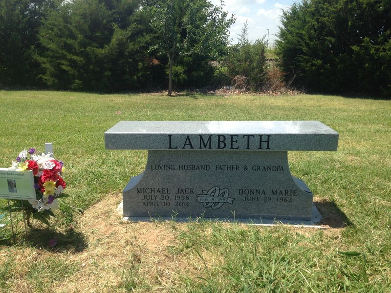 Grey granite cemetery pedestal bench