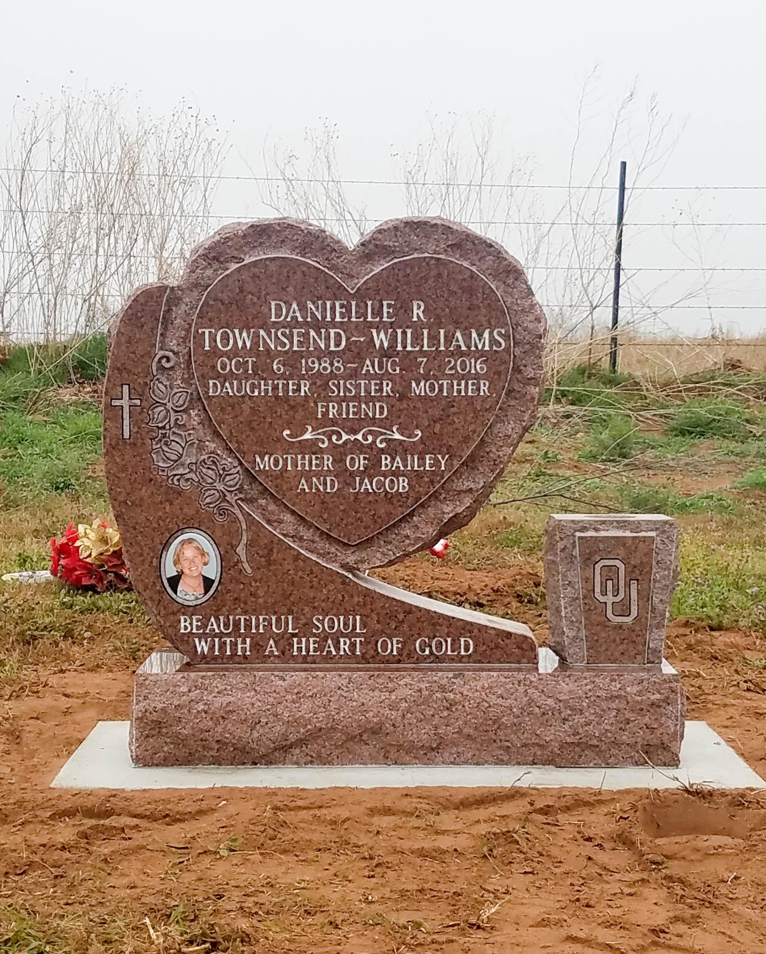 Custom Cemetery Heart Monument